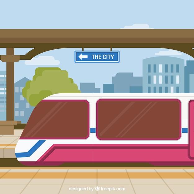 Железнодорожный вокзал с фоном зданий Бесплатные векторы