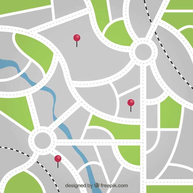 Карта улиц с булавками фона Бесплатные векторы