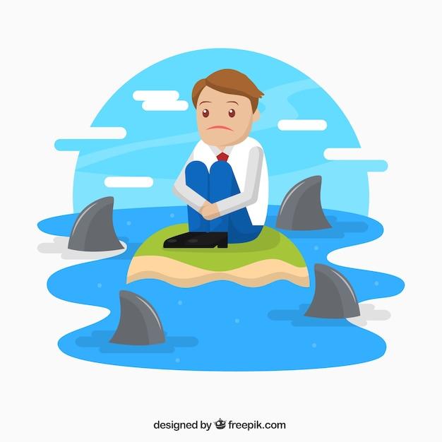 Деловой персонаж, окруженный акулами Бесплатные векторы