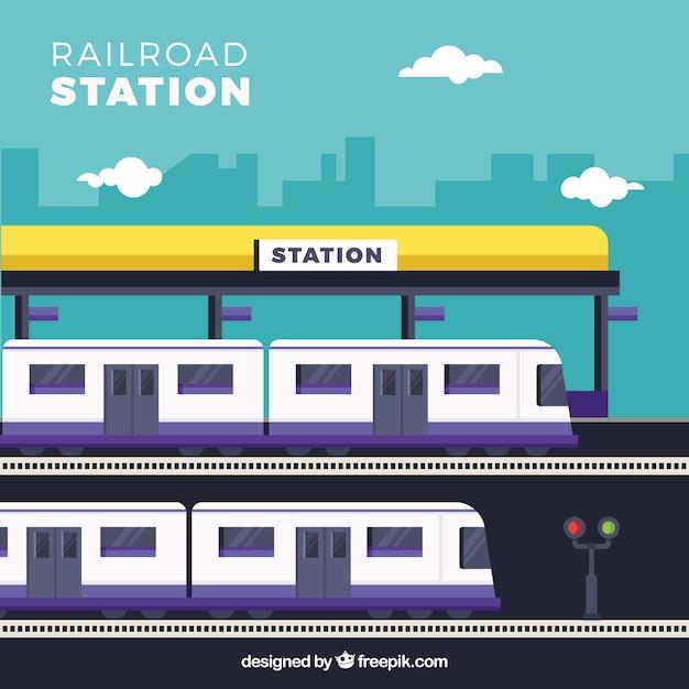 Железнодорожная станция с фиолетовыми деталями Бесплатные векторы