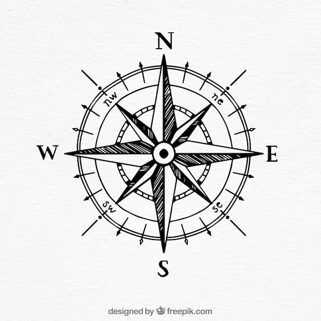 Ручной обращается старинный компас Бесплатные векторы
