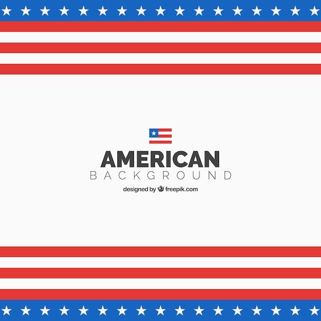 Американский флаг фон в плоский дизайн Бесплатные векторы
