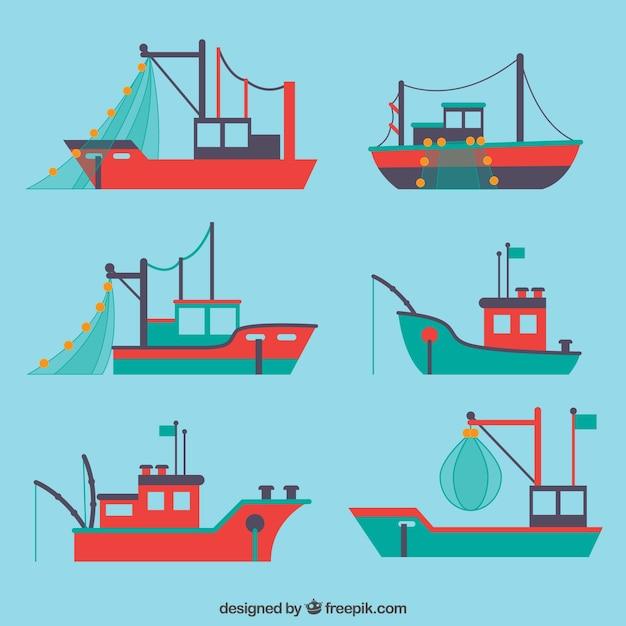 Выбор квартиры с различными рыбацкими лодками Бесплатные векторы
