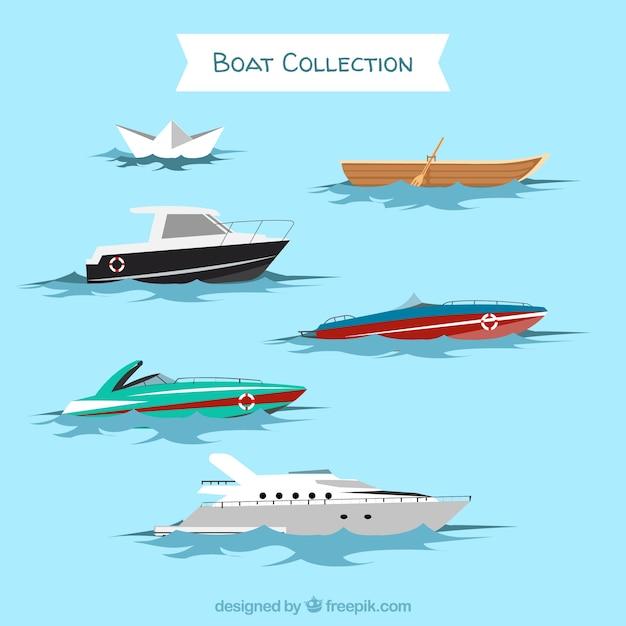 Набор различных типов лодок Бесплатные векторы