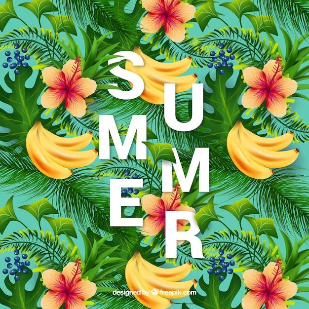 Летний фон из бананов и цветов Бесплатные векторы