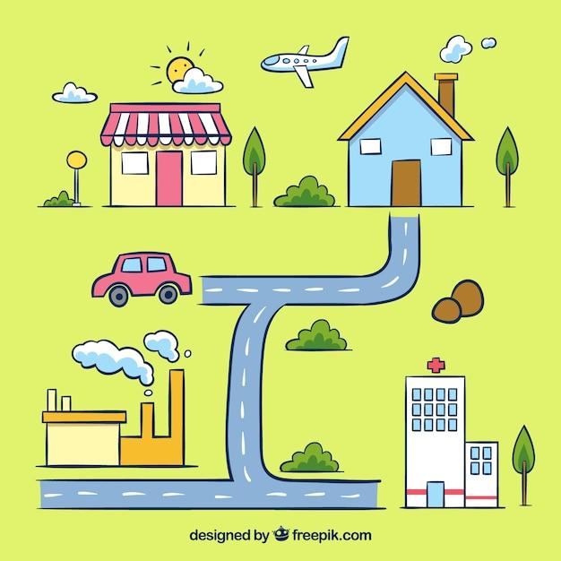 交通手段を備えた都市地図イラスト ベクター画像 無料ダウンロード