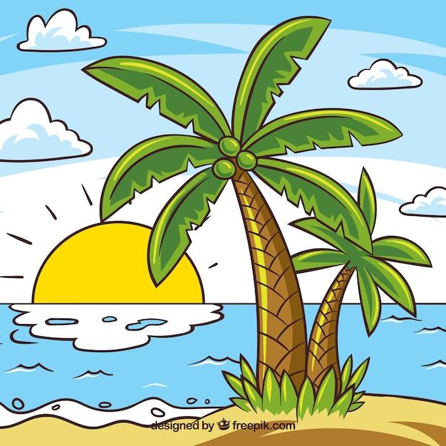 Католической, картинка острова с пальмой