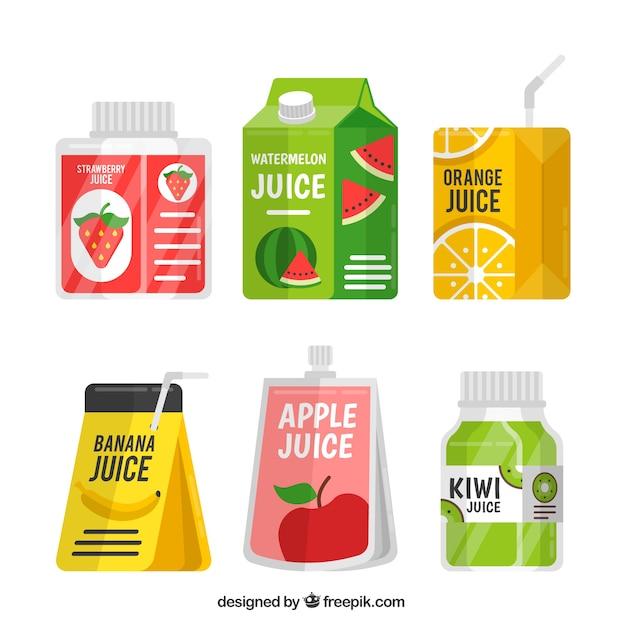 Упаковка контейнеров с фруктовым соком Бесплатные векторы