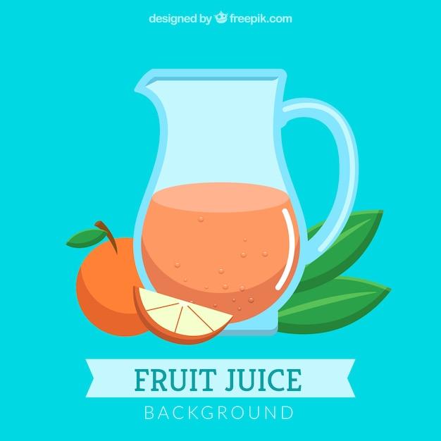 Синий фон с апельсиновым соком в плоском дизайне Бесплатные векторы