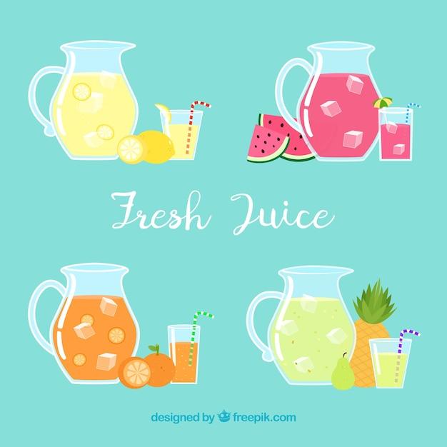 Выбор из четырех банок с фруктовыми соками Бесплатные векторы