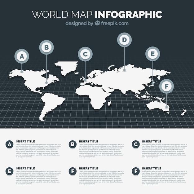 黒と白の世界地図 無料ベクター