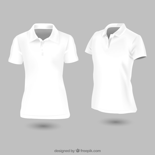 白い女性のポロシャツのテンプレート 無料ベクター