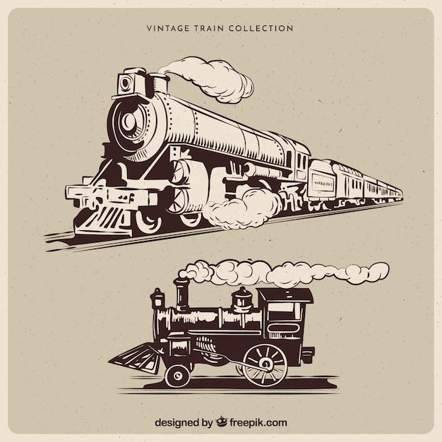 Коллекция старинных поездов Бесплатные векторы