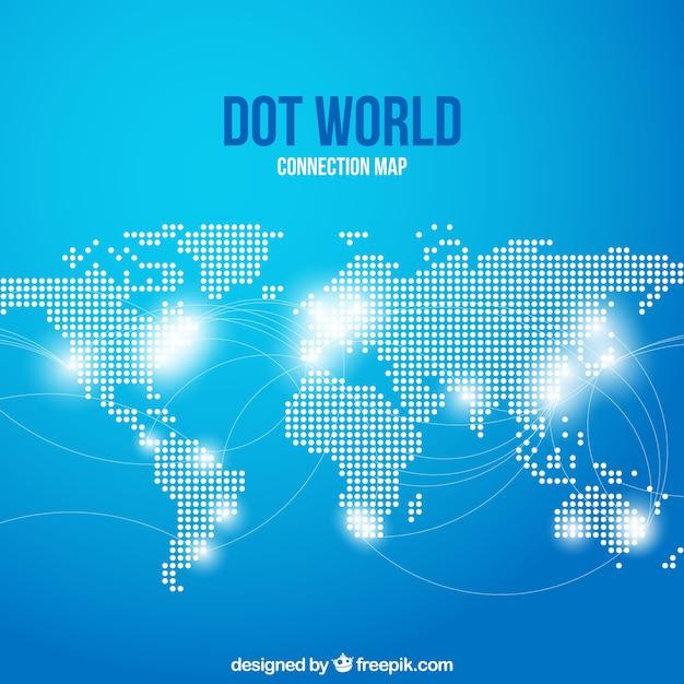 青い背景の点の世界の接続図 無料ベクター