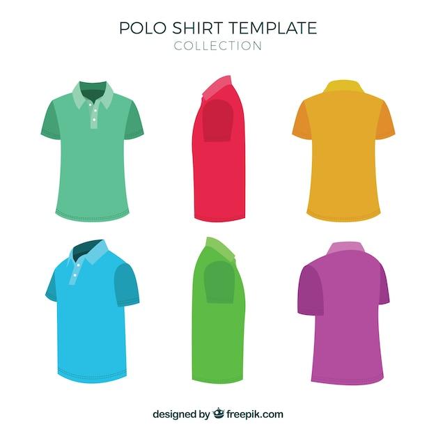 多色ポロシャツのテンプレートコレクション 無料ベクター