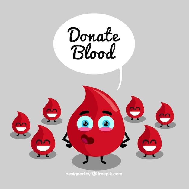 幸せな滴で血の背景を寄付する 無料ベクター