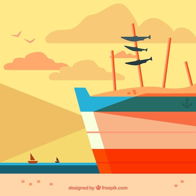 平らなデザインのイワシのボートの背景 無料ベクター