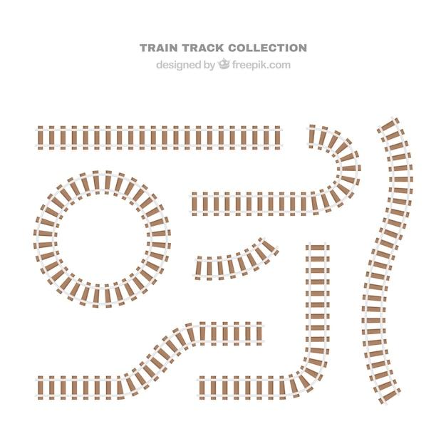 Железнодорожные пути в плоском дизайне Бесплатные векторы