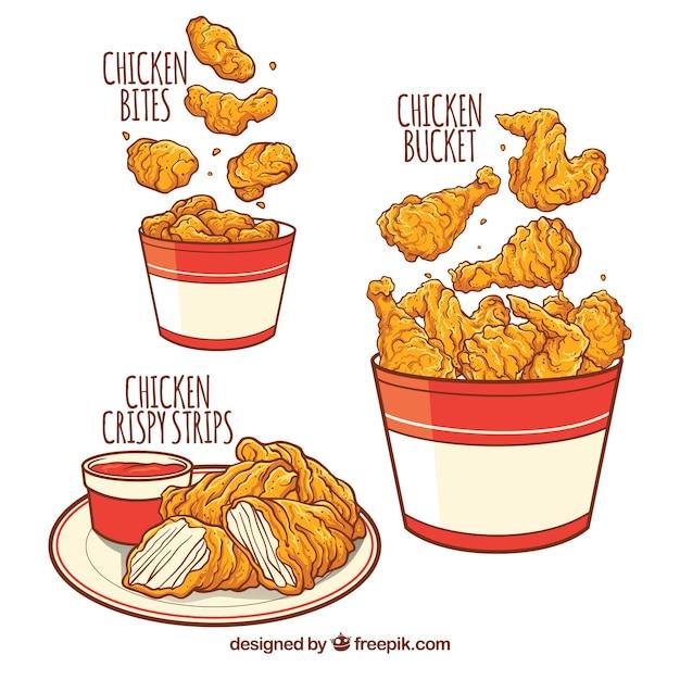 Вкусные жареные куриные меню Бесплатные векторы