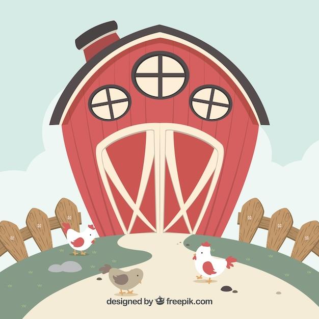 鶏と赤い納屋の背景 無料ベクター