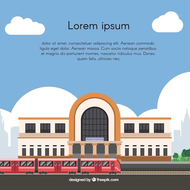 Фон железнодорожного вокзала в плоский дизайн Бесплатные векторы