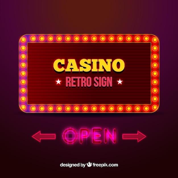 レトロスタイルのライトサインカジノの背景の背景 無料ベクター