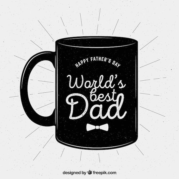 幸せな父の日レトロマグカップの背景 無料ベクター