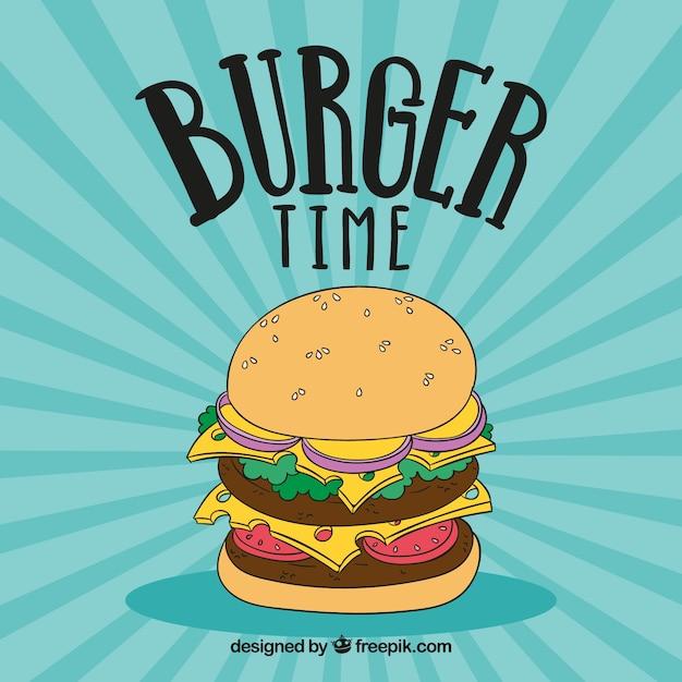 Ретро фон с ручной обращается гамбургер Бесплатные векторы