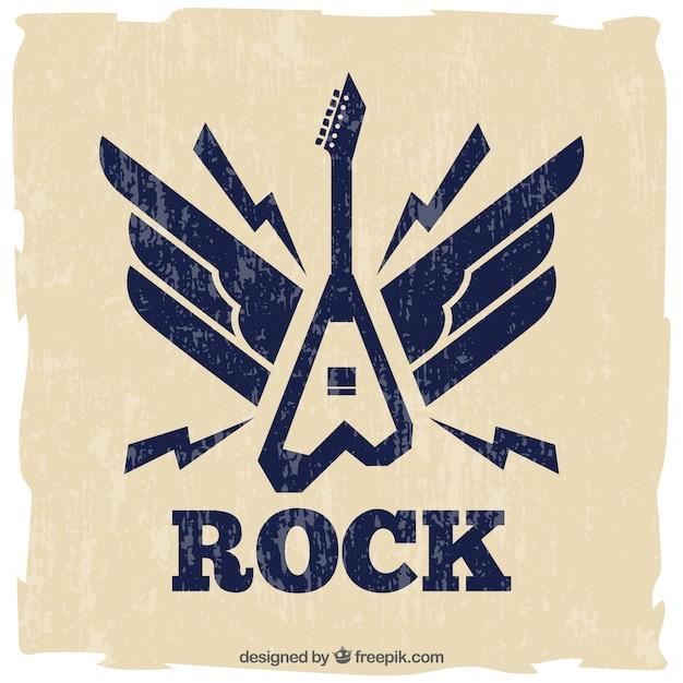エレキギターのレトロ背景 無料ベクター