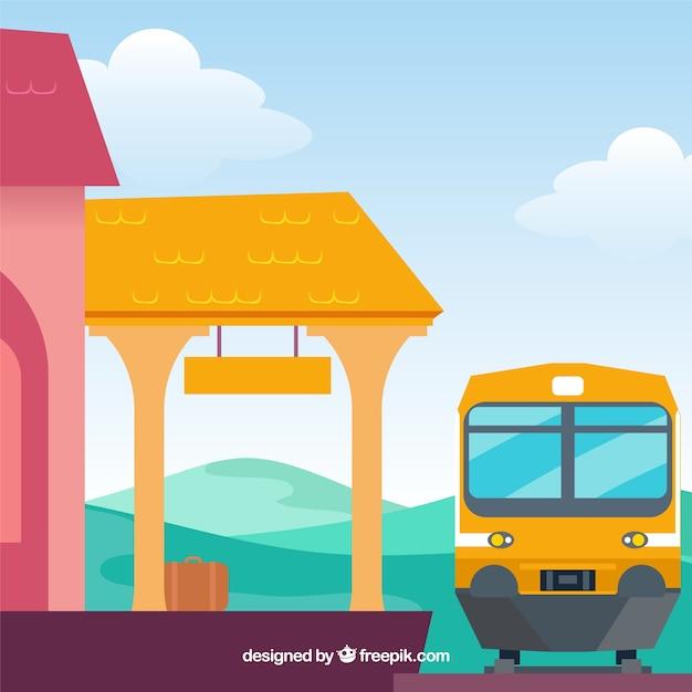 Поезд фон в станции в плоский дизайн Бесплатные векторы