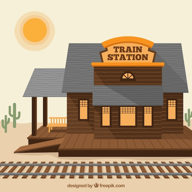 西側の木造の鉄道駅 無料ベクター