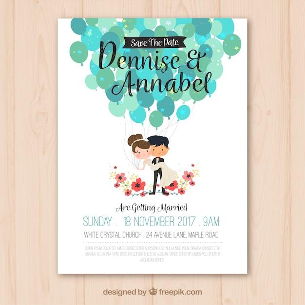 素敵なカップルと結婚式の招待状 無料ベクター