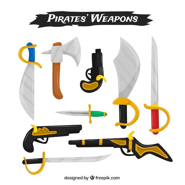 海賊の武器のフラットコレクション 無料ベクター