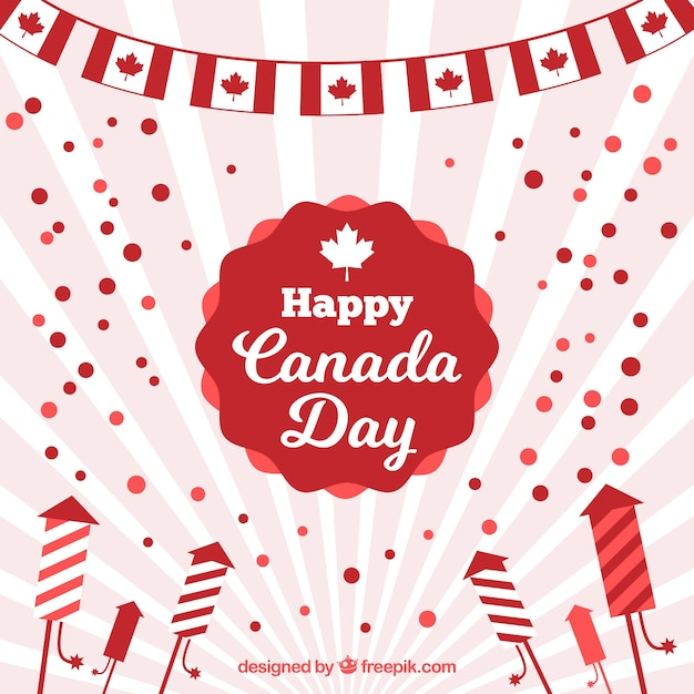 平らなデザインの太陽の日カナダの日の背景 無料ベクター