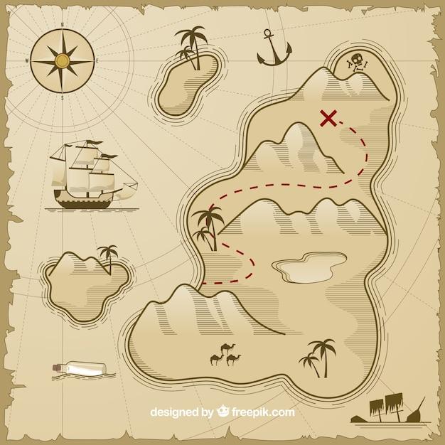 карта для игры в пиратов картинка распечатать основном стекла