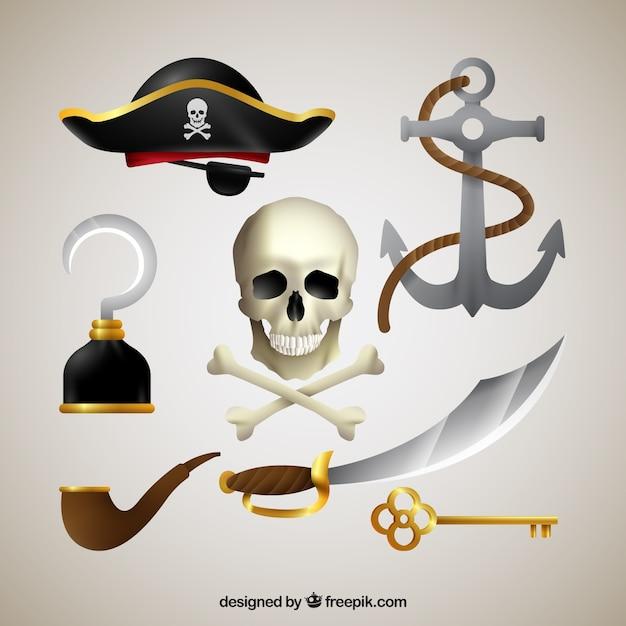 海賊の要素を持つ頭蓋骨 無料ベクター