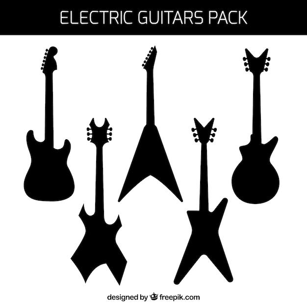 エレクトリックギターのシルエットのパック 無料ベクター