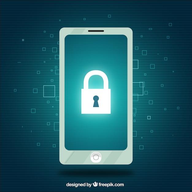 携帯電話と南京錠のセキュリティの背景 無料ベクター