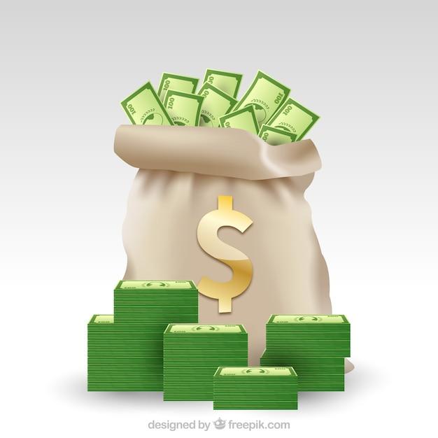 緑の紙幣とマネーバッグの背景 無料ベクター