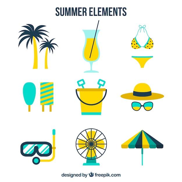 黄色い細部の夏のアイテムの選択 無料ベクター