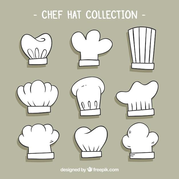 Выбор из девяти нарисованных вручную шеф-поваров Бесплатные векторы