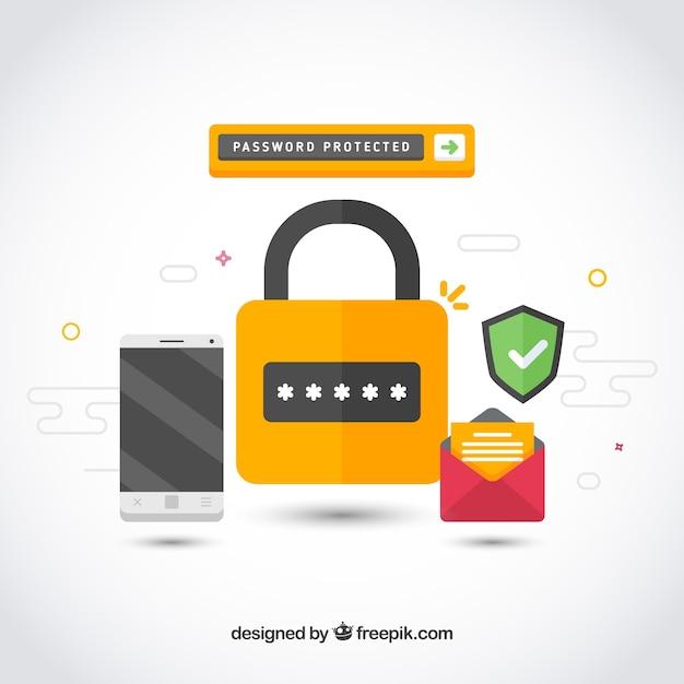 異なる要素を持つフラットセキュリティの背景 無料ベクター