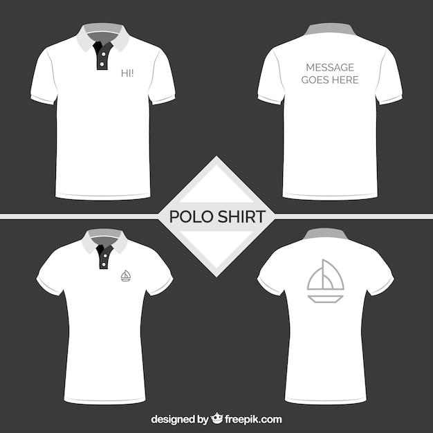 白いポロシャツコレクション 無料ベクター