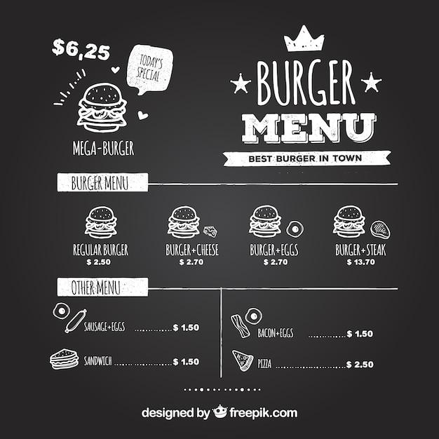 Классная доска с вкусными гамбургерами Бесплатные векторы