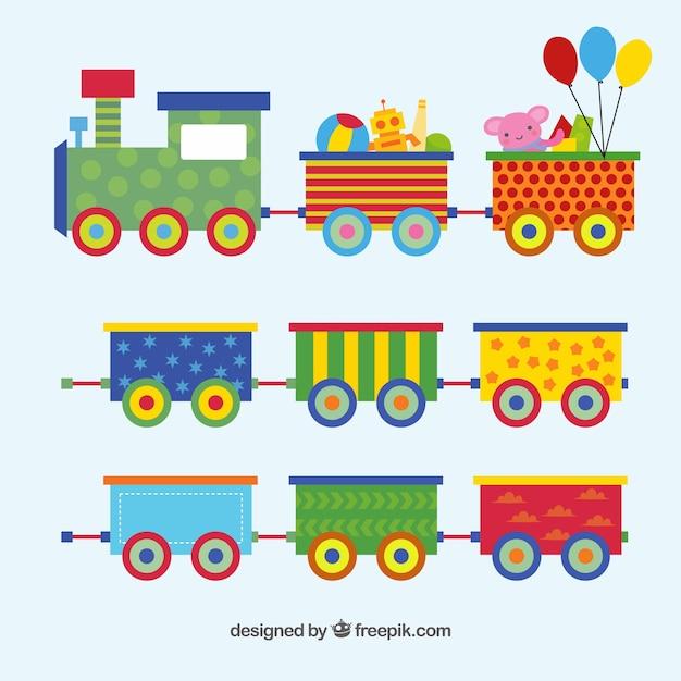 Игрушечный поезд установлен в плоском дизайне Бесплатные векторы