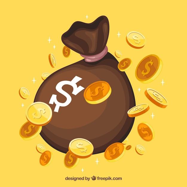 お金のある袋の黄色い背景 無料ベクター