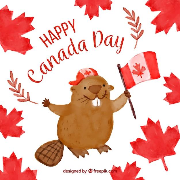 カナダの日のためのかわいいビーバーと水彩の背景 無料ベクター