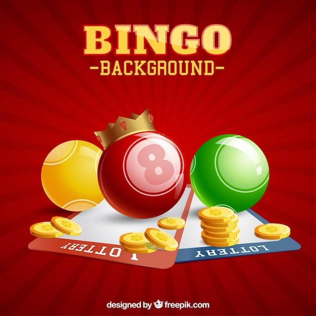 ビンゴボールとコインのある赤い背景 無料ベクター