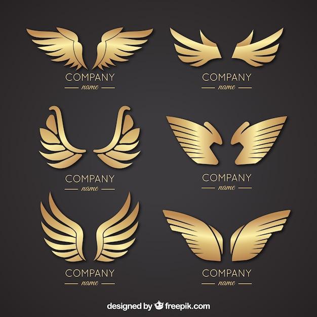 Выбор элегантных логотипов крыла Бесплатные векторы