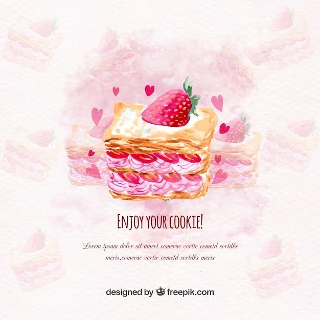 おいしいイチゴのケーキと水彩の背景 無料ベクター